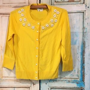 Kate Spade Yellow. Beaded Cardigan Size XS